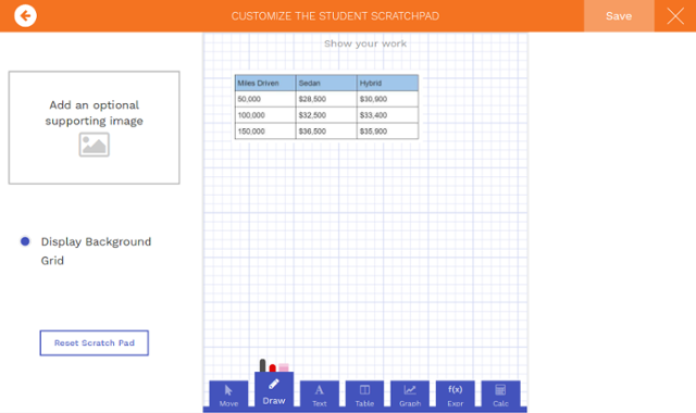 Customize the student scratchpad