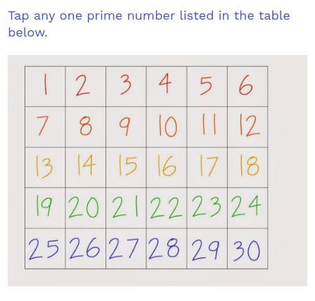 Tap on any prime number