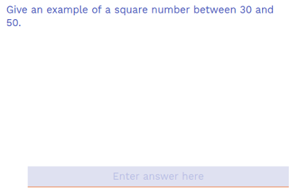 Find a square number between 30 and 50