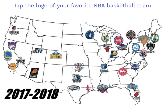 Map of NBA basketball teams