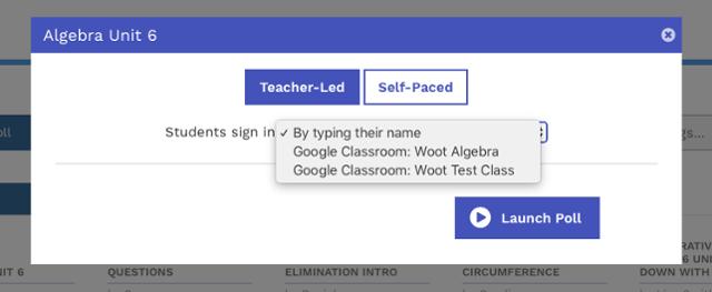 Select Google Classroom class when launching a poll