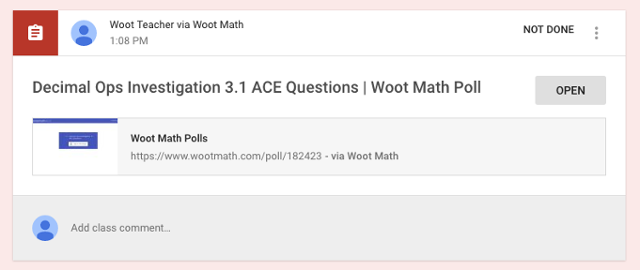 Woot Math assignment in Student Stream