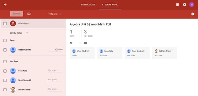 Student status on teacher Google Classroom dashboard