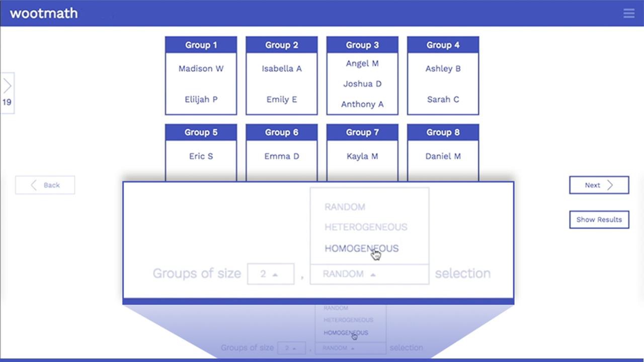 Woot Math Automatic Grouping