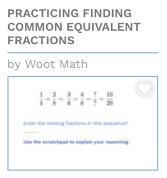 Practice Finding Common Equivalent Fractions