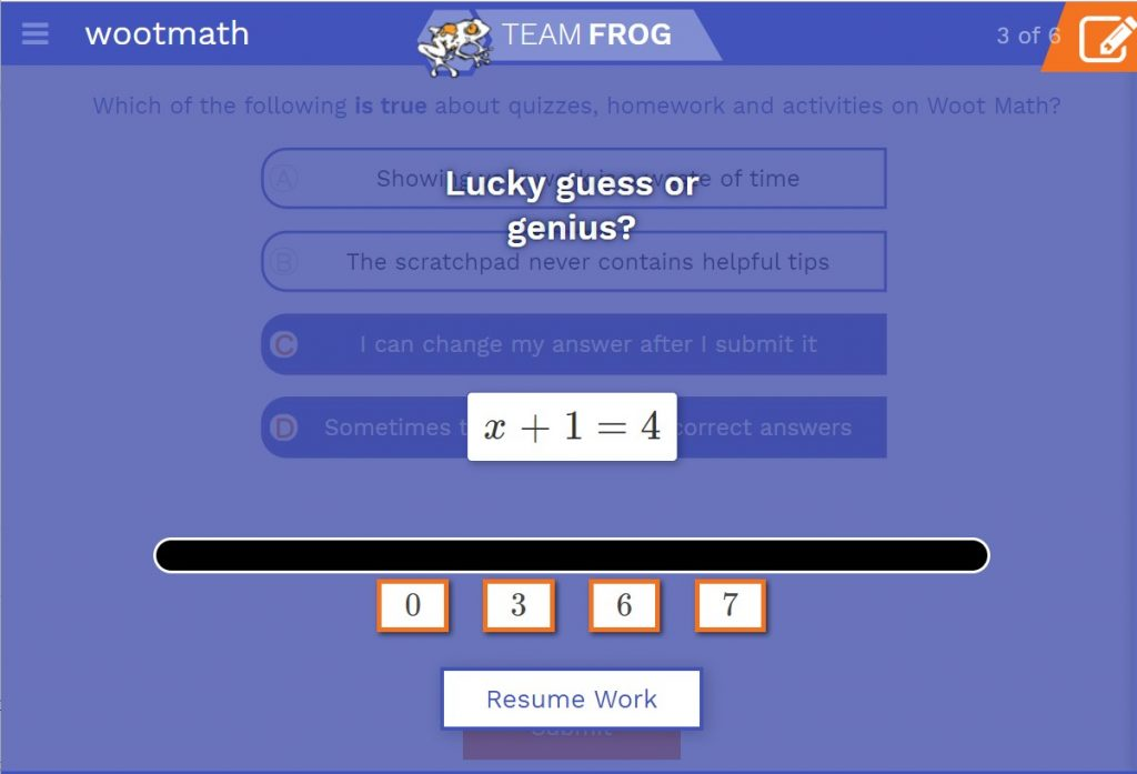 Engaging math game between problems