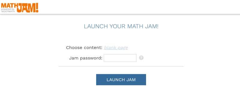 Math Jam launch screen